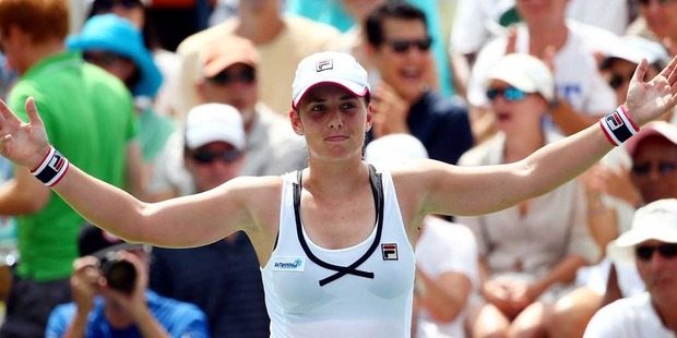 Marina Erakovic of New Zealand celebrates after defeating Svetlana Kuznetsova of Russia on Day Two of the 2014 US Open. Photo / Getty Images.