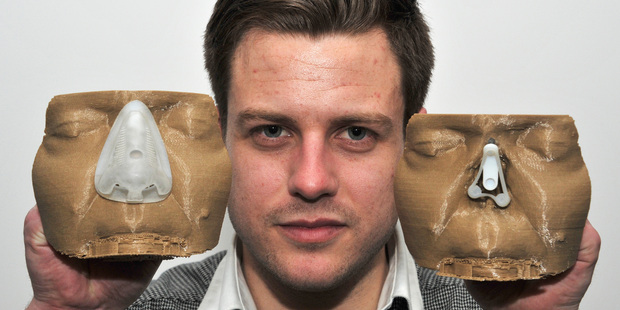 Zach Challies created a shock absorbing base for prosthetic noses. Photo / Supplied