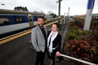 Elaine Ben and Derek Judge outside the Ranui Train Station. Photo / Jason Oxenham.