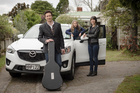 Greg Fleming, fiance Wendy and daughter Truly get ready for the trip in the Mazda CX-5.Picture / Ted Baghurst