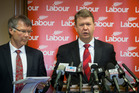 Labour Party finance spokesman David Parker, left, and leader David Cunliffe releasing their up-dated budget during a press conference at Parliament in Wellington. Photo / Mark Mitchell