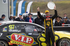 Shane van Gisbergen  celebrates after an outstanding performance at the Sydney Motorsport Park. Picture / Edge Photographics