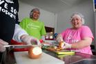 Julie King from Love Soup in Tokoroa (R) with volunteer Sariah Peraua (L). Photo / Christine Cornege