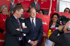 David Cunliffe, left, and David Shearer at Community House. STEPHEN PARKER