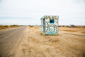 The entrance to Slab City in Niland. Picture / Babiche Martens