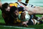 Waisake Naholo of Taranaki scores a try during the match between Waikato and Taranaki. Photo / Getty Images