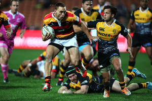 Waikato's Joe Webber breaks the North Harbour line. Photo / Getty Images