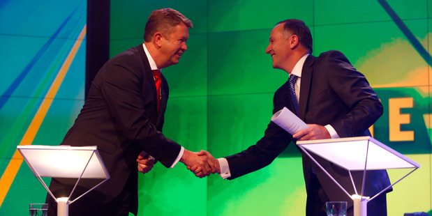 Prime Minister John Key, right, and Labour Leader David Cunliffe shake hands prior to the TVNZ leader's debate. Photo / Getty Images