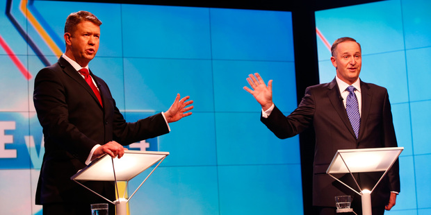 Prime Minister John Key (R) and Labour Leader David Cunliffe go head to head at the TVNZ leader's debate.