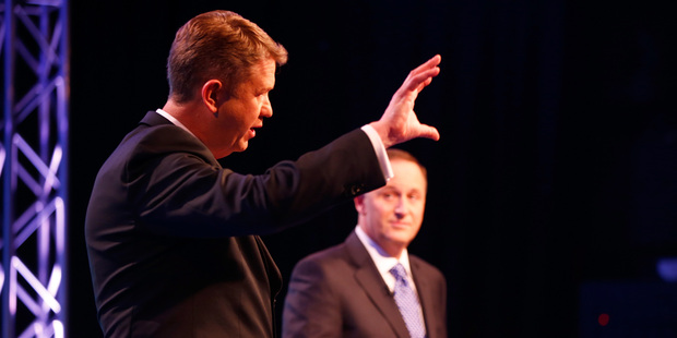 Prime Minister John Key, right, and Labour Leader David Cunliffe, left go head to head at the TVNZ leader's debate. Photo / TVNZ