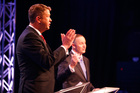 Prime Minister John Key (R) and Labour Leader David Cunliffe (L) during the TVNZ leaders debate. Photo / Getty Images