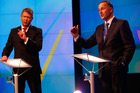 Prime Minister John Key, right, and Labour Leader David Cunliffe go head to head at the TVNZ leader's debate. Photo / TVNZ