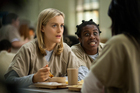 Taylor Schilling, left, and Uzo Aduba play inmates in a women's prison.