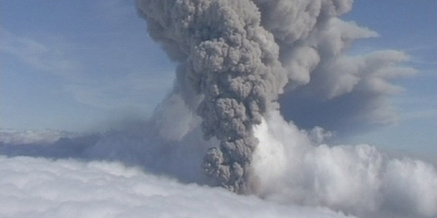 A column of ash rising from Iceland's Eyjafjallajokul volcano. Photo / AP