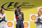 Red Bull driver Daniel Ricciardo, on the podium after winning the Belgian Formula One Grand Prix in Spa-Francorchamps, Belgium. Photo / AP