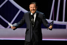 Ricky Gervais didn't win, but read his acceptance speech anyway. Photo / AP