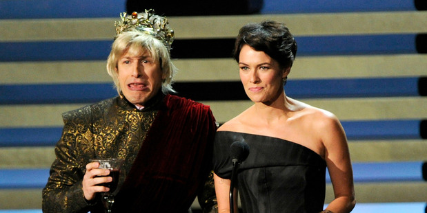 Andy Samberg and Lena Headey present the award for outstanding miniseries on stage at the 66th Annual Primetime Emmy Awards. Photo / AP