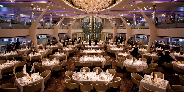 The Grand Epernay Restaurant on the Celebrity Solstice cruise liner offers haute cuisine. Photo / Supplied