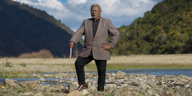 Tame Iti pictured at the edge of the Te Ureweras near Ruatoki in the Eastern Bay of Plenty. Photo / Alan Gibson