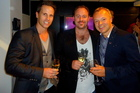 Tim Lightbourne , Rob Cameron and Graham Norton drinking Invivo Marlborough Sauvignon Blanc.