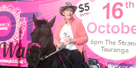 Jan Ferguson and Shadow were in Tauranga for the House of Travel Pink Walk in support of Breast cancer awareness in October.