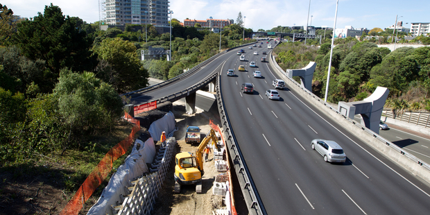 Mid-construction of the cycleway off Symonds Street, Auckland. Photo / Richard Robinson