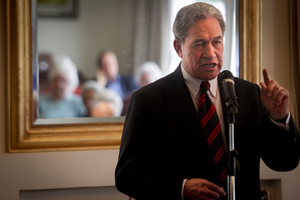 Winston Peters was urging voters to use their party vote for NZ First. Photo / Warren Buckland