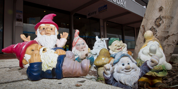 These seven suspected stolen gnomes were handed in to Hawke's Bay Today this week. Photo / Glenn Taylor