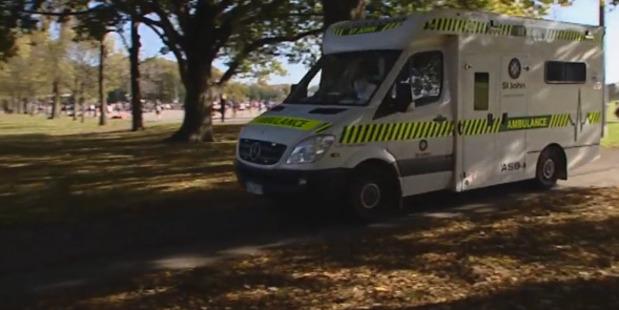 An ambulance at the scene of the crash. File photo / NZ Herald