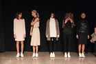 Models line up before the Juliette Hogan show at NZ Fashion Week. Picture / James Lowe