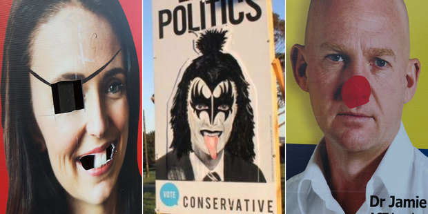 Some candidates can't get a break when it comes to billboard vandals... Photo / NZ Herald