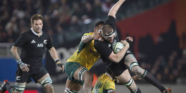 Brodie Retallick's physical dominance together with Sam Whitelock and the rest of the team blew the Wallabies away. Photo / Greg Bowker