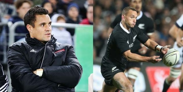 Aaron Cruden's, right, glorious performance has made it awkward for the selectors to immediately return Dan Carter, left, to the All Black No 10 jersey when he recovers from his broken leg. Photo / Getty Images, Brett Phibbs
