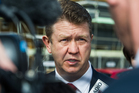 Labour Leader David Cunliffe talks to media on the corner of Corsair Street and Meteor Road Hobsonville to promote Labour's home ownership policy. Photo / Jason Dorday