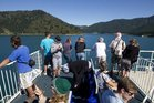 Ferry passengers in the Tory Channel near Picton. Photo / NZ Herald