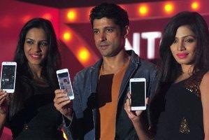The Intex phone launch in Mumbai. Photo / AFP