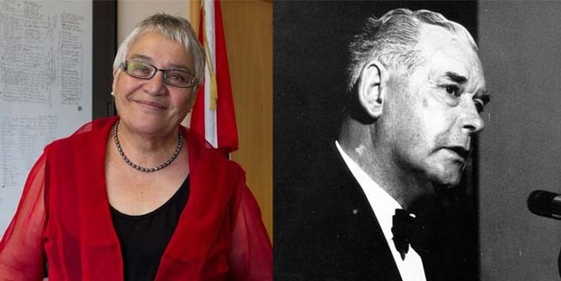 Maori Party founder Tariana Turia, left, and former Governor-General and National Party Prime Minister Sir Keith Holyoake, right.