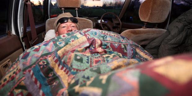 The Ashburton Guardian last month reported that Russell John Tully was sleeping in his car. Photo / Ashburton Guardian
