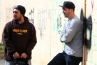 Whangarei graffiti artists Rodrigo Rozas and Rob Allen, right, believe there are several ways to tackle Whangarei's tagging problem. Photo / John Stone