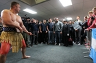 The Argentina Los Pumas are challenged by Thompson Hokianga on arrival at Hawke's Bay Airport. Photo / Duncan Brown