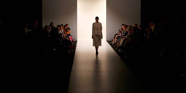 A model walks the runway at Salasai during New Zealand Fashion Week 2014. Picture / Getty Images