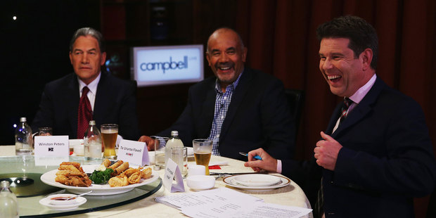 TV3 Broadcaster John Campbell directs the MMP Party Leaders at a 'Dinner with the Deciders'. Photo / Getty Images