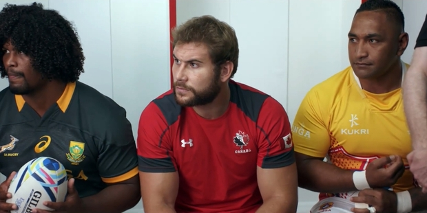 Loading A still from the advertisement for the Rugby World Cup 2015 features a South African, a Canadian and a Tongan - but no New Zealander.