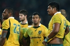 Kurtley Beale (centre) has been benched for the Wallabies match against South Africa in Perth. Picture / Getty Images