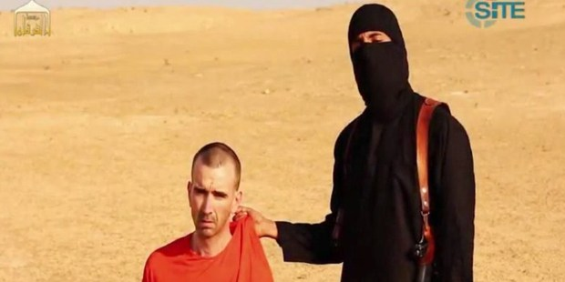 An image grab from a video from the Islamic State purports to show a threat against David Haines, a Briton who worked for aid organisations before his kidnap. Photo / AFP
