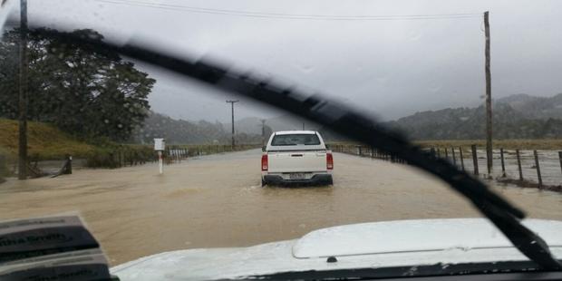 Flooding in Whangaruru yesterday. Photo / L Smith