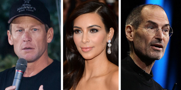 Researcher Jeffrey Kluger names well-known narcissists Lance Armstrong, Kim Kardashian and Steve Jobs. Photo / Thinkstock; AP