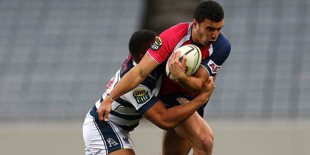 James Lowe of the Tasman Makos is tackled during the round three ITM Cup match between Auckland and Tasman at Eden Park. Photo / Getty Images