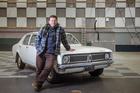 Neill Rea who plays Detective Mike Shepherd in Prime's murder/mystery mini-series The Brokenwood Mysteries. The detective drives a 1971 Holden Kingswood. Photo / Ted Baghurst