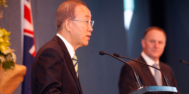 Prime Minister John Key meets UN Secretary General Ban Ki-Moon at Auckland Airport this morning. Photo / Chris Gorman